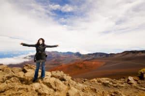 XB, horizontal, Maui, volcano, Haleakala, crater, woman, girl, happiness, happy, sky, clouds, mountain, rocks, kiking, hiker, well, health, colorful, sun bath, walking,